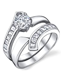 Metal Masters Co.® 1/2 Carat Sterling Silver Engagement Ring Set with Round Cut Cubic Zirconia Sizes 5 to 8