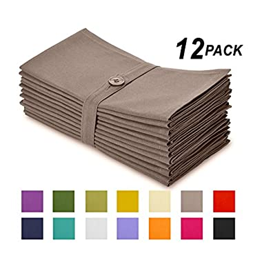 Cotton Craft Napkins, 12 Pack Oversized Dinner Napkins 20x20 Stone, 100% Cotton, Tailored with Mitered corners and a generous hem, Napkins are 38% larger than standard size napkins