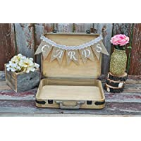 Wedding card box color choice burlap cards banner lace bow holds 75+ cards