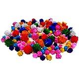 Glitter Pompoms (Assorted - 150 Piece, Multicolored Glitter)