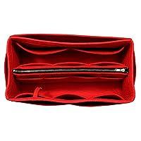 [Fits Neverfull PM/Speedy 25, Red] Purse Insert (3mm Felt, Detachable Pouch w/Metal Zip), Felt Tote Bag Organizer
