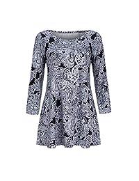 yoyorule Women Casual Shirt Fashion Womens Casual Floral Print Shirts 3/4 Sleeves O-Neck Tunic Blouse Tops