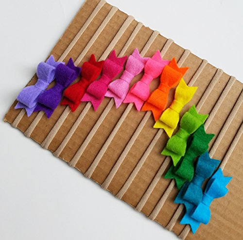 HANDMADE RAINBOW Mini Bow set of 12 headbands, baby nylon headbands in Hot Colors