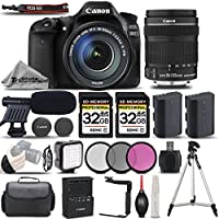 Canon EOS 80D Wi-Fi Full HD 1080P Digital SLR Camera + Canon 18-135mm IS STM Lens + 64GB Storage + Shotgun Mic + LED KIT. All Original Accessories Included - International Version