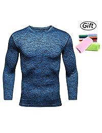 Men's Cool Dry Skin Fitness Long Sleeve Compression Shirt Running Long Sleeve T Shirt