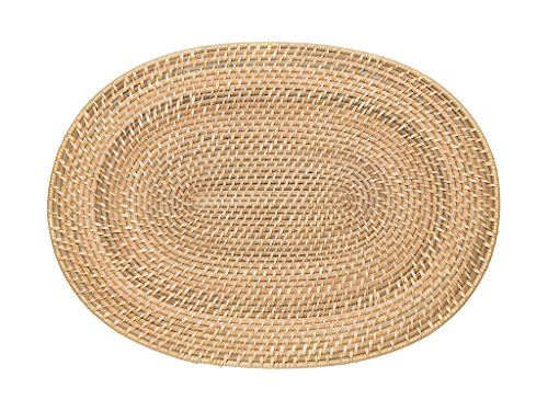 Kouboo Laguna Oval Rattan Placemat, Natural, Set of 2 (Rattan Oval)