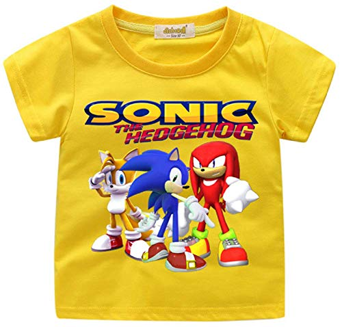 Indepence Life Boys' Sonic The Hedgehog T-Shirt - Featuring Sonic, Tails, and Knuckles Tee for 2-13Years Kids(Yellow, 4T) -