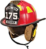 MSA 1044DSR Cairns 1044 Traditional Composite Fire Helmet with Defender, Red, Nomex Earlap, Nomex Chinstrap with Quick Release & Postman Slide, Lime/Yellow Reflexite, 6'' Silk Screen Eagle