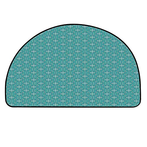 "YOLIYANA Turquoise Semicircle Rug,Moroccan in Geometric Rectangular Frames with Floral Arrangement Floor Mat,17.7"" H x 35.4"" L"