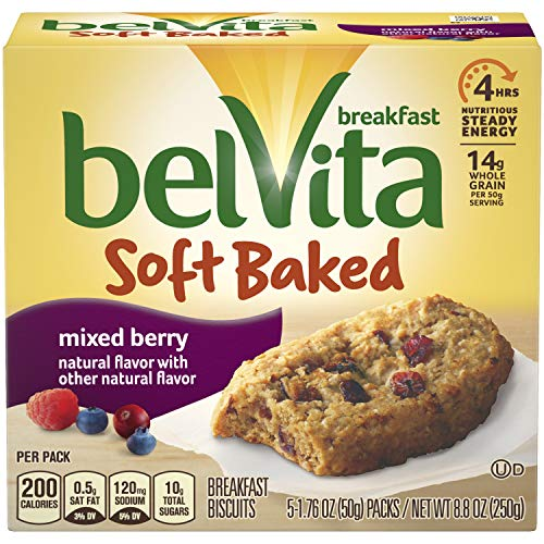 - belVita Mixed Berry Soft Baked Breakfast Biscuits, 5 Count Box, 8.8 Ounce (Pack of 6)
