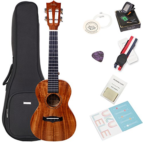 Koa Tenor Ukulele Bundle with Bag and Tuner, Strap, Extra Aquila Strings, Polishing Cloth, 2 Pins Installed, Instructional Book, KUT-70 HANKEY by HANKEY