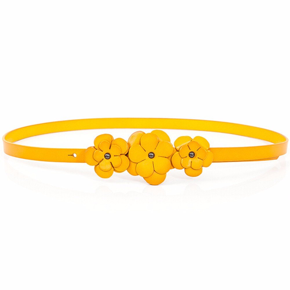 SAIBANGZI Ms Women All Seasons Dress Decoration Belt Fine Handmade Flower Woman Belt Girlfriend Present Yellow 78-91Cm