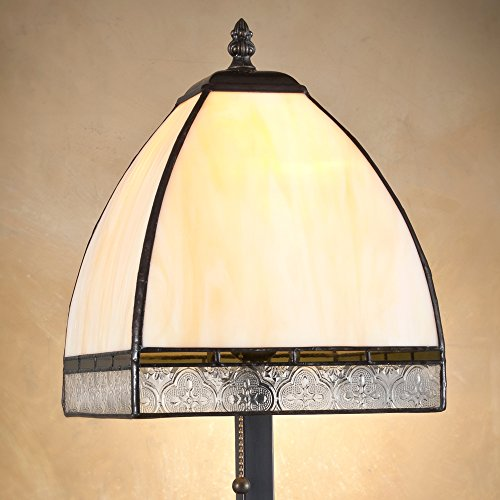 J Devlin Glass Art Lam 589-5 TB Tiffany Stained Glass Lamp Curved Ivory Opalescent Glass Moss Green Clear Vintage Texture Accent Desk (Ivory Stained Glass Table Lamp)