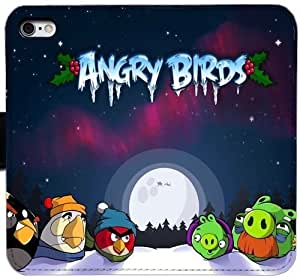 Generic Custom Flip Wallet Case,angry birds games entertainment fun cartoon winter snow land Leather Case for iPhone 6 6S 4.7 inch Black S-45131270