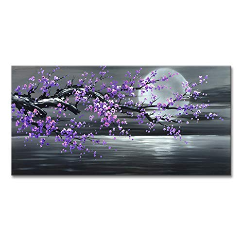 Konda Art Framed Handmade Purple Flower Oil Painting On Canvas Abstract Wall Art Artwork For Kitchen Stretched Ready to Hang (Framed 48