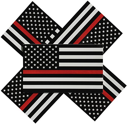 - Thin Red Line Flag Decal - 3x5 in. Black White and Red American Flag Sticker for Cars Trucks and SUVs - In Support of Firefighters and EMTs (5-Pack)