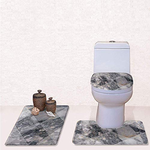 - 3 Pcs Soft Bathroom Rug Set Includes Bath Mat, Contour Rug ,Lid Cover,Geometric Diamond Shaped Grunge Granite Rock Facet Forms Ceramic Abstract Print Decorative with Light Grey,decorate bathroom,en