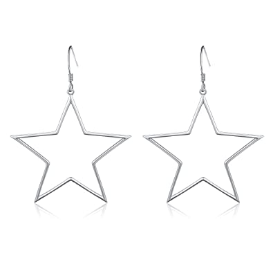 d12bd070e Geometric Jewelry 925 Sterling Silver Big Star Earrings Dangle Fish Hook  Earrings for Women Girls Gift