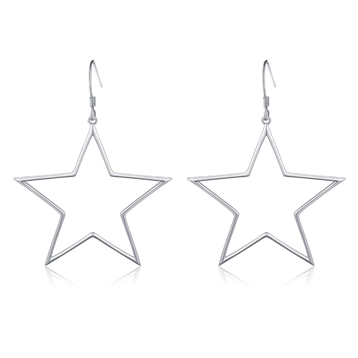 Geometric Jewelry 925 Sterling Silver Big Star Earrings Dangle Fish Hook Earrings for Women Girls Gift