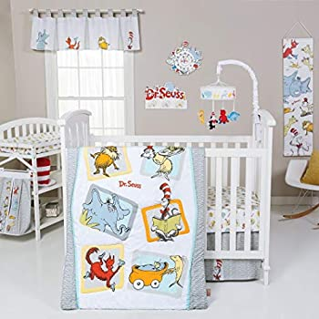 Image of Home and Kitchen AE 5 Piece Baby Grey White Dr Seuss Characters Crib Bedding Set, Newborn Orange Books Cartoon Nursery Bed Set, Childrens Iconic Stories Lorax Animal Infant Child Quilt Blanket, Cotton