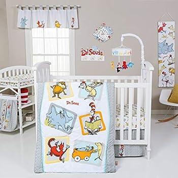 Image of AE 5 Piece Baby Grey White Dr Seuss Characters Crib Bedding Set, Newborn Orange Books Cartoon Nursery Bed Set, Childrens Iconic Stories Lorax Animal Infant Child Quilt Blanket, Cotton