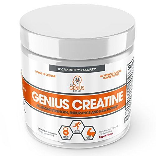 Genius Creatine Powder, Post Workout Supplement For Men and Women with Creapure Monohydrate, Hydrochloride (HCL) MagnaPower and Carnosyn Beta-Alanine SR, Natural Lean Muscle Builder – Sour Apple, 18