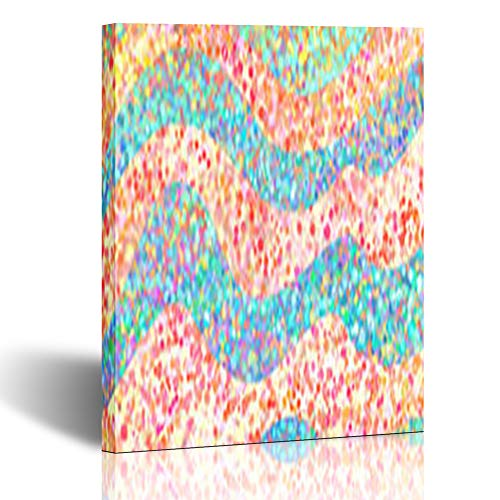 Homeyard Canvas Prints Wall Art Material Striped Lines Blue Pink Circles Spots Dots Abstract with 12 x 12 Inches Wooden Framed Artwork Painting Home Decor Bedroom Office