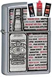 Zippo 28344 Jim Beam Emblem Lighter + Fuel Flint & Wick Gift Set