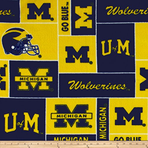 Collegiate Fleece University of Michigan Blocks Fabric By The Yard (Fleece University)