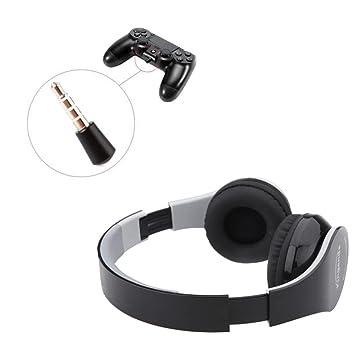 dreamyth Kinganda inalámbrica Bluetooth auriculares estéreo auricular con receptor USB para PS4 juego PC, Negro