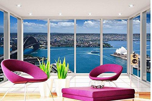 LWCX Sydney Opera House Floor Balcony Landscape Living Room Tv Backdrop Bedroom 3D Photo Wallpaper Silk Fabric Material 180x120CM