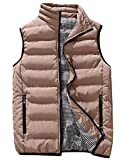 Uaneo Men's Thicken Classic Sleeveless Stand Collar Solid Color Side Pockets Quilted Puffer Down Vest Outwear (Large, Khaki)