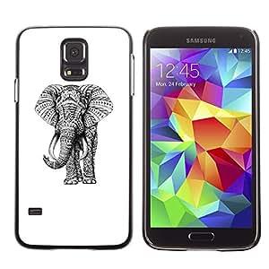 SHIMIN CAO- Dise?o Caso duro de la cubierta Shell protector FOR Samsung Galaxy S5 I9600 G9009 G9008V- Elephant Cute Aztec
