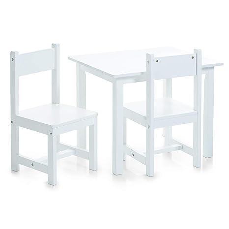 Zeller, Set di tavolino e sedie per Bambini, 3 pz, Bianco ...