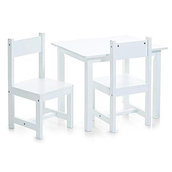 Zeller, Set di tavolino e sedie per bambini, 3 pz, Bianco (Weiß),  dimensioni tavolo: 59 x 47 x 45 cm, dimensioni sedie: 28 x 28 x 51,5 cm