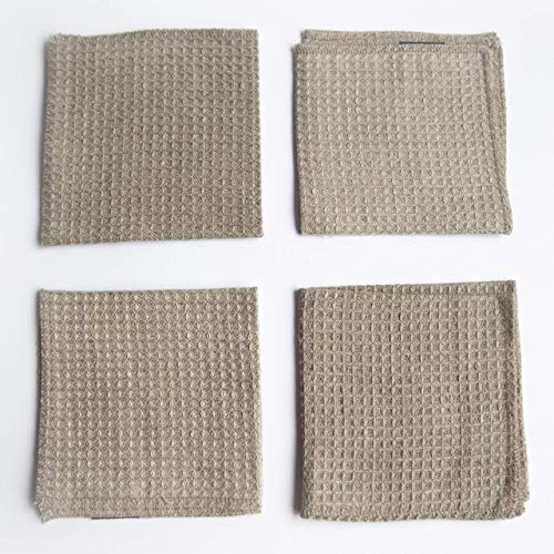 Waffle Weave Cleaning Cloths Dusters - Pure 100% Linen - 4-Pack 10.6inch x 10.6inch Gray Organic Flax Small Antibacterial Towel Washcloth