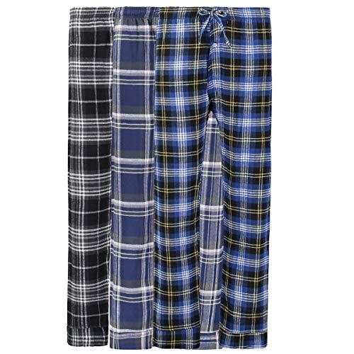 Bill Baileys Mens 3 Pack 100% Cotton Flannel Pajama Pants Lounge Pants Sleep Pants Sleepwear (2X-Large)