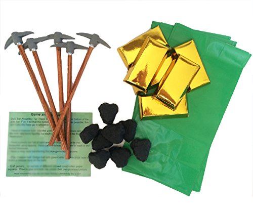 Mining Party Favors for 12: Pickaxe Pencils (12), MINI Gold Bar Boxes - 3 Inch (12), Lump of Coal Erasers (12), Green Paper Favor Bags (12) and Party Game Ideas (Bundle of 5 Items) Total 49 pieces
