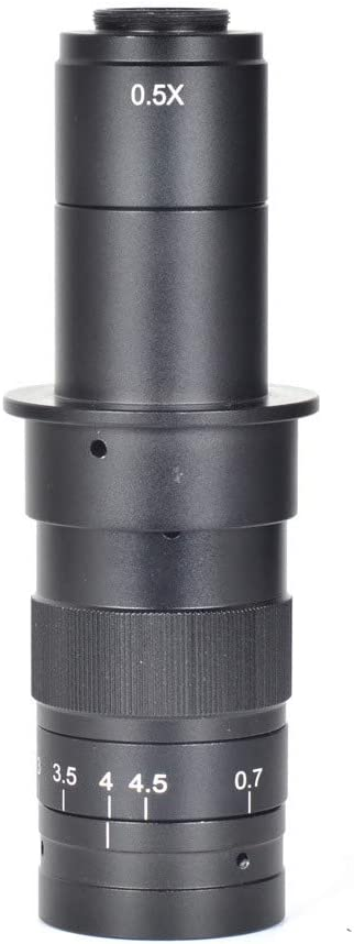 Microscope Lens KKmoon 10X-120X 180X 300X Zoom C-mounting Lens 0.7X to 4.5X Magnification 25mm Interface Diameter for CCD CMOS Industrial Video Microscope Cameras