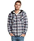 quilted plaid jacket - 9 Crowns Mens Quilted Lightweight Plaid Flannel Hoodie Jacket-White/Navy/Red-XL