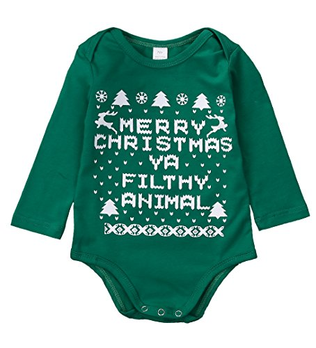 Zekyy Infant Newborn Baby Boys Girls Long Sleeve Christmas Letter Prints Romper Bodysuit Jumpsuit Outfits Clothes Gifts (6-12Months, Green)