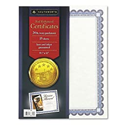 Southworth : Foil-Enhanced Certificates, 8-1/2 x 11, Silver Border, 15 per Pack -:- Sold as 2 Packs of - 15 - / - Total of 30 Each