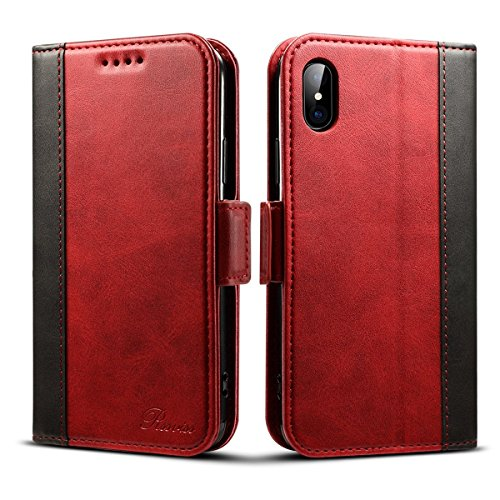 Rssviss iPhone Xs Wallet Case - iPhone X Case Wallet Leather Wallet Handmade Case for iPhone X/Xs with Magnetic Closure [Support Wireless Charging] 5.8 inch - Red