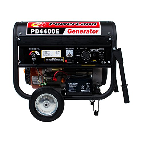 (Powerland PD4400E 4.4 KW Portable Gas Generator 7.5 HP ELECTRIC Start Quiet 4 RV)
