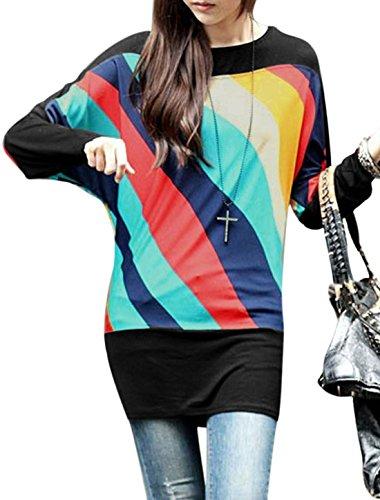 Lady para el cuello Color asimétrica diseño de rayas bloque de costura para camisetas de mujer Casual azul marino