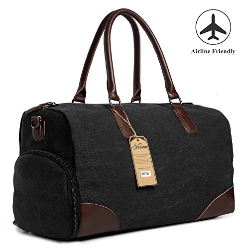 (Fresion Canvas Duffel Leather Carry On Bag Weekend Overnight Tote Bag Men Shoe Pouch(Black))