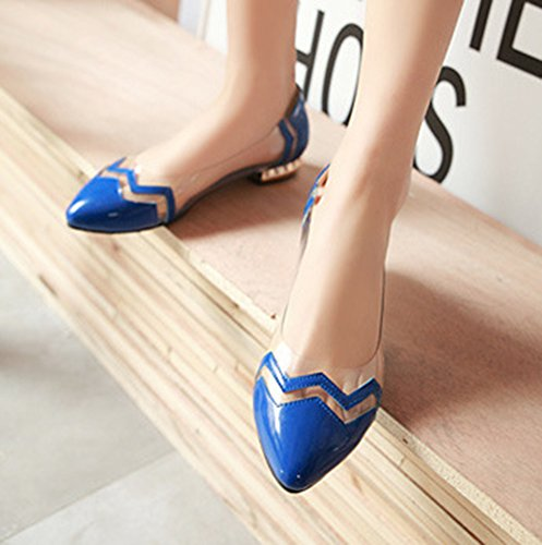 SHOWHOW Womens Stylish Pointy Toe Slip-on Pumps Shoes Blue FYH49m2