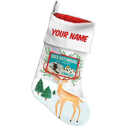 Christmas Stocking Ober Gatlinburg Ski Resort - Tennessee Ski Resort Snow Deer NEONBLOND (Gatlinburg Time Christmas)