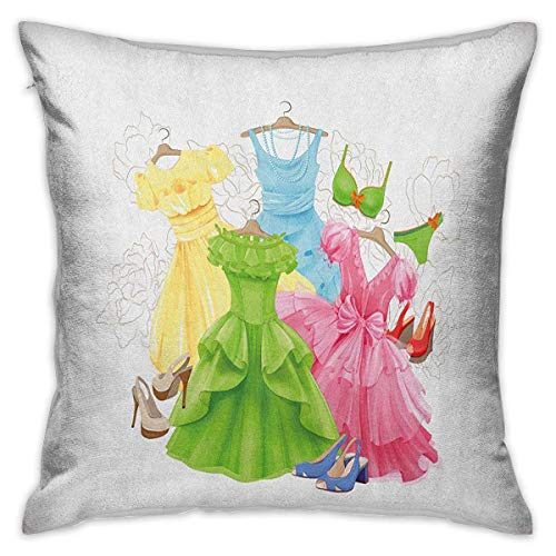 Heels and Dresses Square Pillowcase Protector Princess Outfits Bikini Shoes Wardrobe Party Costumes in Girls Design Multicolor Cushion Cases Pillowcases for Sofa Bedroom Car W17.7 x L17.7 ()