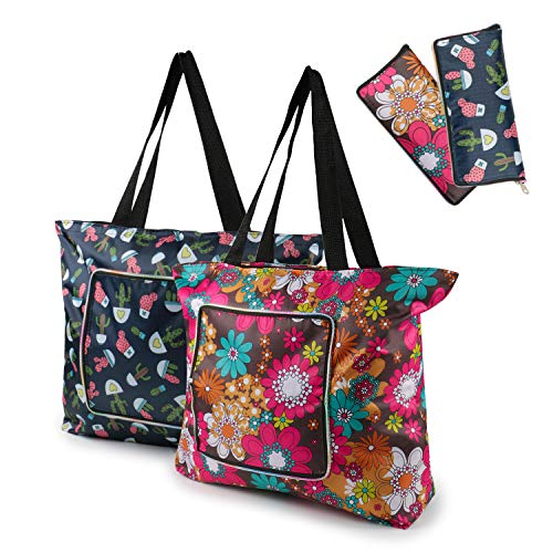 Reusable Grocery Bags Set of 2 Sturdy Zipper Eco-Friendly Market Bags Double Stitched Washable Foldable Grocery Tote Bags Heavy Duty Durable Reusable Shopping Bags Perfect for Holiday Travel